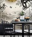 Cygnus-et-Serpentium,-cream-Tiere-Bäume-Landschaft-Blätter-Vögel-Wasser-Zeichnungen-Exoten