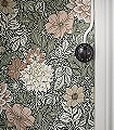 Dahlia-Garden,-col.-6-Blumen-Blätter-Florale-Muster-Grün-Grau-Braun-Anthrazit-Creme