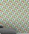 Daisy,-col.08-Dreiecke-KinderTapeten-Grafische-Muster-Türkis-Multicolor