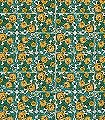 Daisy-Blumen-Kachel-Florale-Muster-Gelb-Weiß-petrol