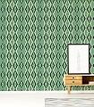 Deco-Diamond,-Enamel-Green-Rauten-Retro-Vintage-Tapeten-Retro-Muster-Grün-Gold-Schwarz-Creme