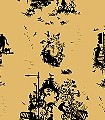Decouper-Toile-3,-black-on-gold--Ornamente-Figuren-Moderne-Muster-Gold-Schwarz