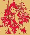 Decouper-Toile-3,-red-on-gold-Ornamente-Figuren-Moderne-Muster-Rot-Gold