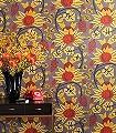 Delia,-col.05-Blumen-Florale-Muster-Moderne-Muster-Rot-Anthrazit-Ocker