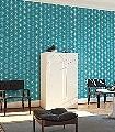 Dewdrops,-col.08-Punkte-Linie-Moderne-Muster-Türkis-Weiß