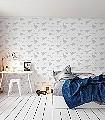 Dya-think-e-saurus-White-Tiere-KinderTapeten-Silber-Weiß