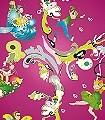 Elfenkind,-brombeer-Blumen-Figuren-KinderTapeten-Pink-Multicolor