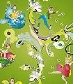 Elfenkind,-wiesengrün-Blumen-Figuren-KinderTapeten-Grün-Multicolor