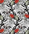 English-Garden,-colour-Blumen-Rot-Grün-Schwarz-Weiß