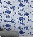 Ere-be-Dragons,-blue-Figuren-Gebäude-KinderTapeten-Blau-Hellblau