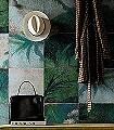 Exotic-damier-Bäume-Kachel-Moderne-Muster-Grün-Grau-Creme