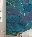 FOLIAGE-Blätter-Florale-Muster-FotoTapeten-Grün-Blau