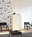 Fabelogie-von-Sara-Ginolas-Figuren-Collage-Florale-Muster-FotoTapeten-Weiß-Multicolor