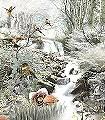 Fable-K18-Tiere-Landschaft-Vögel-Wasser-Märchen-Fauna-Florale-Muster-FotoTapeten-Multicolor