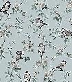 Falsterbo-Birds,-col.-1-Blumen-Tiere-Blätter-Vögel-Äste-Fauna-Florale-Muster-Schwarz-Hellgrün-Weiß-Hellblau-Hellbraun