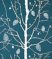 Family-Tree,-col.-7-Bäume-Florale-Muster-Grün-Türkis-Weiß