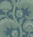 Fanfare-Flock,-col.-6-Blumen-Blätter-Florale-Muster-Grün-petrol