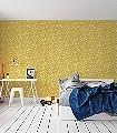 Fayre`s-Fair,-Mustard-Tiere-Moderne-Muster-KinderTapeten-Gelb-Weiß-Ocker