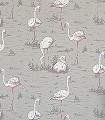 Flamingos,-col.-42-Vögel-Flamingos-Fauna-Moderne-Muster-Grau-Creme-Pink