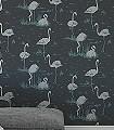 Flamingos,-col.-48-Vögel-Flamingos-Fauna-Moderne-Muster-Grün-Anthrazit-Schwarz-mint