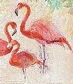 Flamingos-party-Tiere-Blätter-Vögel-Fauna-Florale-Muster-FotoTapeten-Multicolor