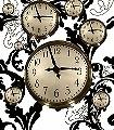 Floating-Clocks-Big,-col.02-Uhren-Moderne-Muster-Gold-Braun-Schwarz-Weiß-Creme