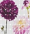 Flowers-&-Dots-Blumen-Kachel-Florale-Muster-FotoTapeten-Grau-Weiß-Pink
