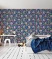 Flowers-in-the-Mix,-col.04-Ornamente-Blumen-Vögel-Florale-Muster-Blau-Multicolor
