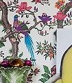 Fontainebleau,-col.50-Bäume-Blätter-Vögel-Fauna-Florale-Muster-Creme-Multicolor