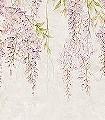 Fototapete-Wisteria-Blumen-Blätter-Florale-Muster-FotoTapeten-Rosa-Hellgrün-Creme