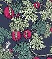 Frutto-Proibito,-col.-01-Tiere-Blätter-Fauna-Florale-Muster-Rot-Grün-Blau-Creme