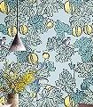 Frutto-Proibito,-col.-02-Tiere-Blätter-Fauna-Florale-Muster-Grün-Hellblau