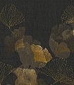 GINKO,-BLACK-Blätter-Florale-Muster-FotoTapeten-Gelb-Schwarz