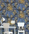 GLADIS-AMPARO-Blumen-Blätter-Art-Deco-Blau-Gold-Gelb-Schwarz