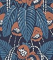 GLADIS-IMPERIAL-Blumen-Blätter-Art-Deco-Rot-Blau-Silber