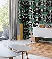 GRADA-AMAZON-Blumen-Art-Deco-Grün-Gold-Silber-Schwarz