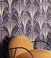 GRADA-AMPARO-Blumen-Art-Deco-Gold-Lila-Braun-Schwarz