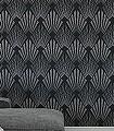 Gatsby-midnight-Ornamente-Rauten-Graphisch-20-50er-Art-Deco-Art-Deco-1920er-Jahre-Schwarz
