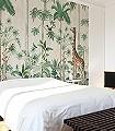 Giraffes-Stroll-Tiere-Bäume-Blätter-Vögel-Fauna-Florale-Muster-FotoTapeten-Grün-Braun-Anthrazit-Creme-Ocker