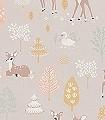Golden-woods,-dusty-lilac-Tiere-Bäume-KinderTapeten-Rosa-Hellgrün-Weiß-Ocker-Hellbraun
