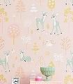 Golden-woods,-sweet-pink-Tiere-Bäume-KinderTapeten-Gelb-Rosa-Hellgrün-Weiß