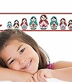 Hübsche-Schwestern-Figuren-KinderTapeten-Rot-Rosa-Türkis-Hellgrün-Weiß
