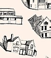 HOUSES,-col.-02-Gebäude-Moderne-Muster-Anthrazit-Schwarz-Creme