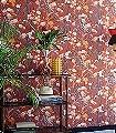 Habana,-col.-7-Blumen-Blätter-Äste-Früchte-Florale-Muster-Rot-Orange-Olive-Creme