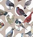 Haute-Cour-Original-Tiere-Vögel-Fauna-Moderne-Muster-Multicolor