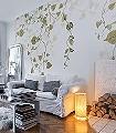 Hedera-Blätter-Florale-Muster-FotoTapeten-Hellgrün-Creme-Hellbraun