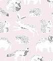 Helma,-col.-2-Tiere-Fauna-KinderTapeten-Rosa-Anthrazit-Weiß