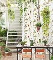 Herbarium,-multi/ivory-Blumen-Blätter-Florale-Muster-Grün-Braun-Orange-Weiß