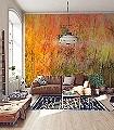 Herbstfarbenrausch-2-Bäume-Schemen/Silhouetten-Florale-Muster-FotoTapeten-Gelb-Orange