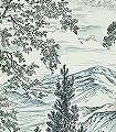 Highland-Trees-Bäume-Florale-Muster-FotoTapeten-Grün-Blau-Anthrazit-Creme